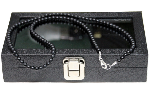 """Joe"" BOYBEADS 6mm Matte Black Onyx Necklace Sterling Silver Handmade Necklace for Him"