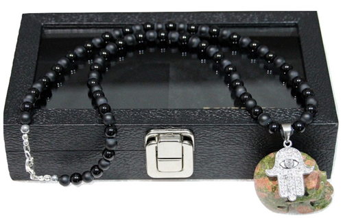 """""""Fatima"""" BOYBEADS 8mm Matte Black Onyx Necklace Sterling Silver Handmade Necklace for Him"""