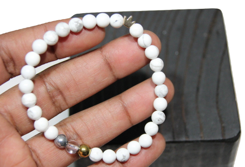 """King Me White Howlite"" 6mm Faceted Crowned  Beaded Bracelet by BOYBEADS"