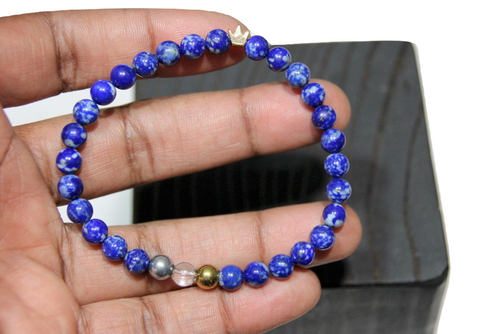 """King Me Lapis Lazuli"" 6mm Crowned  Beaded Bracelet by BOYBEADS"