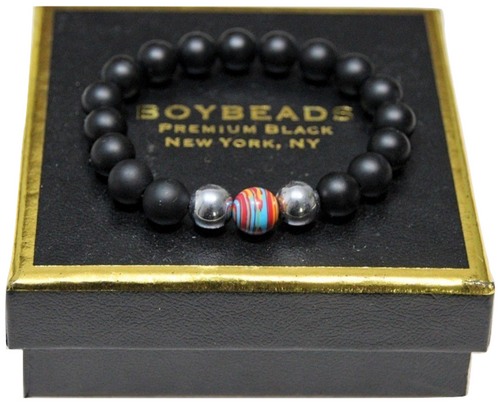 """Barney"" Gay Pride All-Gender 2020 BOYBEADS 10mm multi-color rainbow Bracelet Gift for All Genders"
