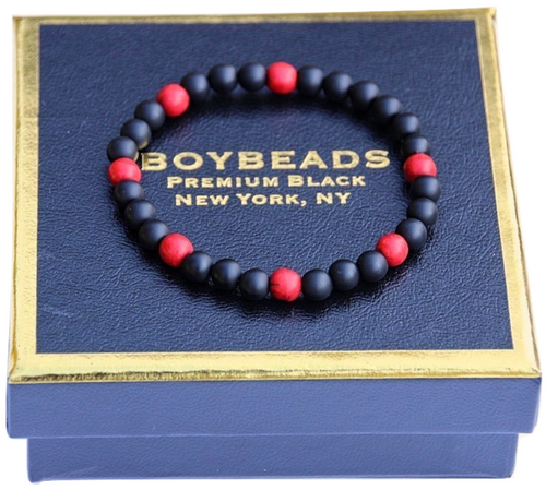 """Gibbons Red Howlite""  Matte Black Onyx 6mm natural stone bead bracelet"