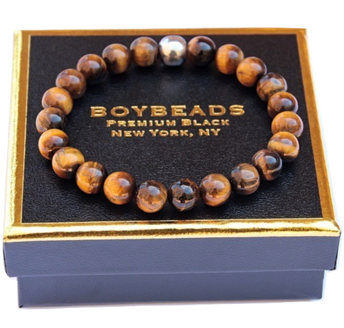 """Tony Brown"" BOYBEADS brown tiger eye 8mm or 10mm mens natural stone bead bracelet"