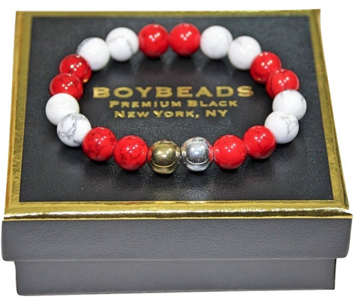 """Kappa"" 8mm or 10mm natural white red and white howlite bead bracelet for men"