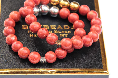 """Tori"" HIV/AIDS Awareness Charity 10mm red/orange sponge coral handmade beaded bracelet"