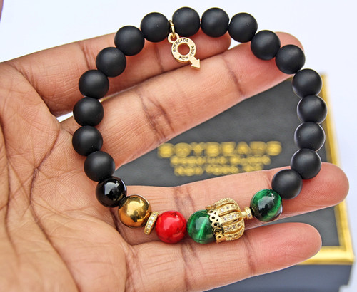 """King Abraham""  Charity NMAAHC- Crowned Black Onyx Bead Bracelet for Guys"