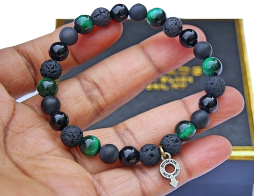 """Ernest"" BOYBEADS 8mm Green Tiger Eye, Black Onyx + Lava Bracelet for Men NYC"
