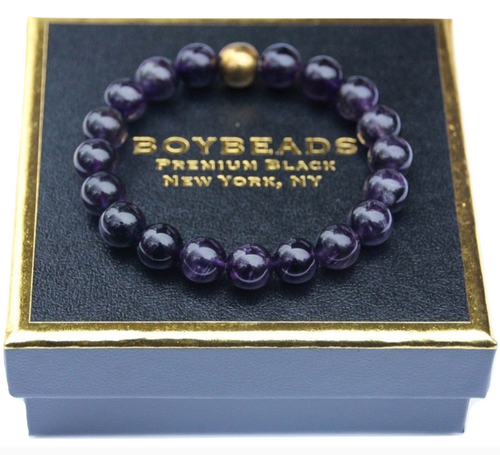 """Brad"" BOYBEADS 10mm  Purple Amethyst, Gold Hematite Bracelet Gift for Men"