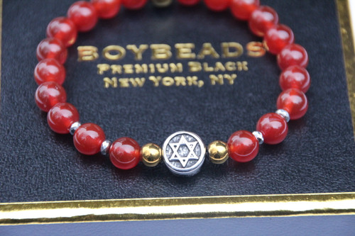 """As Above So Below"" 8mm Orange Carnelian + Star Beaded Bracelet"