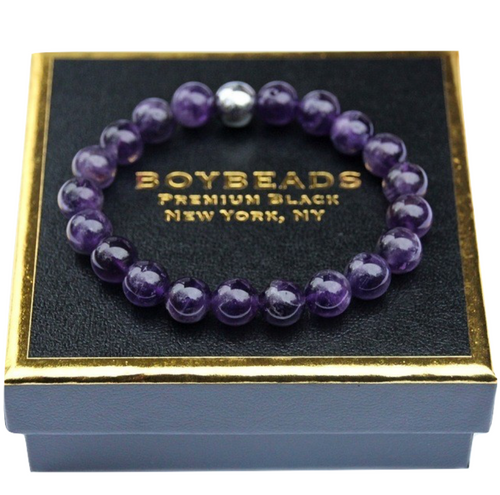 """Brad Silver"" BOYBEADS 10mm  Purple Amethyst, Silver Hematite Bracelet Gift for Men"