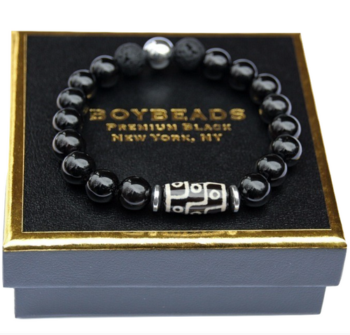 """Zebulon Silver"" BOYBEADS for TMCF-Black Onyx + Dzi Tube Bead Bracelet for Guys"