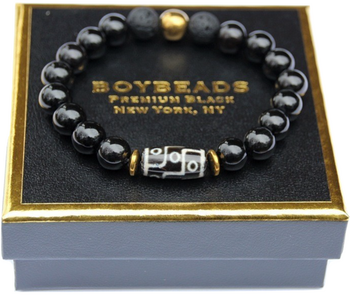 """Zebulon Gold"" BOYBEADS for TMCF-Black Onyx + Dzi Tube Bead Bracelet for Guys"