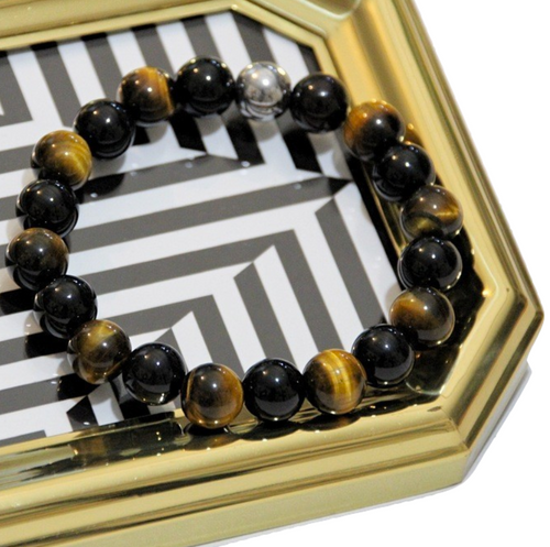 """Dez"" 10mm Brown Tiger's Eye + Shiny Black Onyx Beaded Bracelet for Guys"