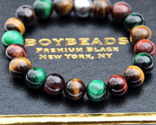 """Gerry"" BOYBEADS 10mm Burgundy, Green, Brown Tiger Eye Trio mens natural stone bead bracelet"