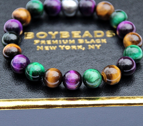 """Randolph"" BOYBEADS 10mm Purple, Green, Brown Tiger Eye Trio mens natural stone bead bracelet"