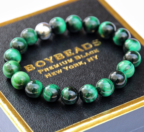 """Tony Green Tiger"" BOYBEADS green tiger eye 8mm or 10mm mens natural stone bead bracelet"