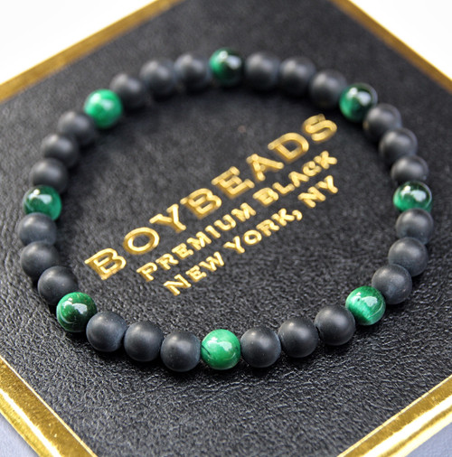 """Gibbons Green Tiger Eye"" 6mm Matte Black Onyx  Beaded Bracelet by BOYBEADS"
