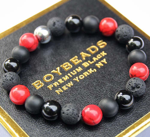 """Anton"" Red Howlite, Black Onyx, Lava Made to Order Beaded Bracelet by BOYBEADS NYC"