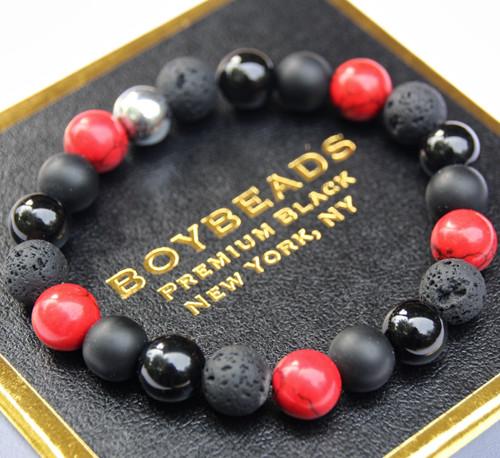 """Anton"" Red Howlite, Black Onyx, Lava Made to Order Beaded Bracelet by BOYBEADS NYC"