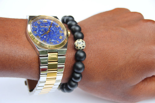 """Jeff"" BOYBEADS Dalmatian Jasper, Matte Black Onyx Natural Beaded Bracelet"