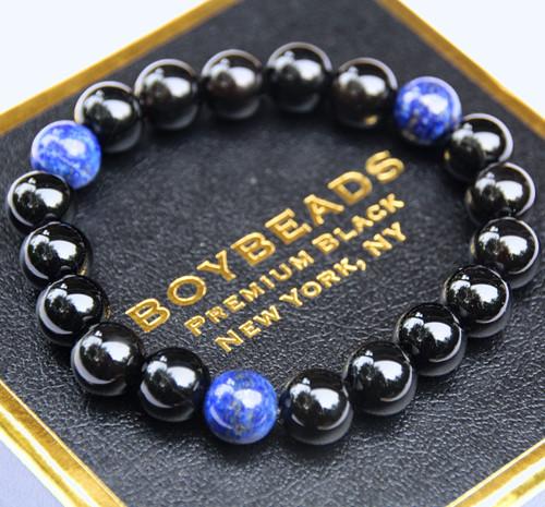 """""""Jeff Lapis"""" BOYBEADS Blue Lapis Lazuli, Polished Black Onyx Natural Beaded Bracelet"""