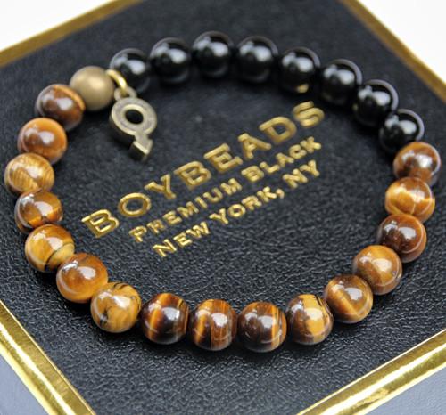 """Roy"" BOYBEADS 8mm tiger eye, onyx custom bead bracelet guys"