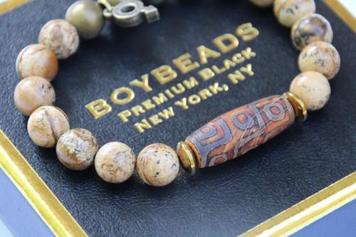 """""""Dujom 9 Eyes"""" BOYBEADS Brown Picture Jasper+ Dzi Tube Bead Bracelet for Guys"""