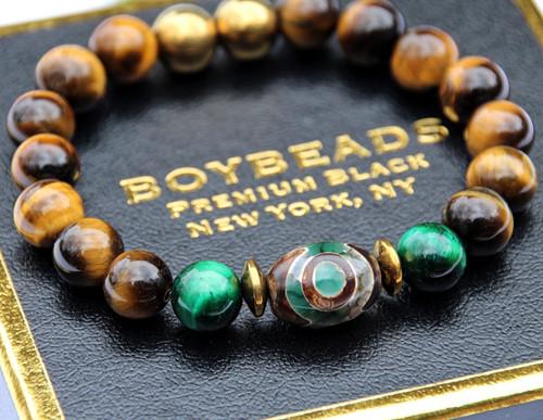 """Bretton- 3 Eyes"" BOYBEADS 10mm Dzi Agate, Brown Tiger Eye mens natural stone bead bracelet"
