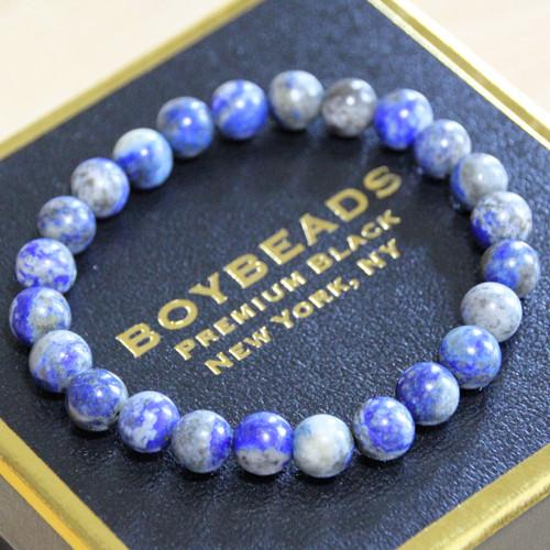 """""""Lonnie 8mm"""" BOYBEADS Natural Blue Lapis Lazuli Bead Bracelet for Men"""