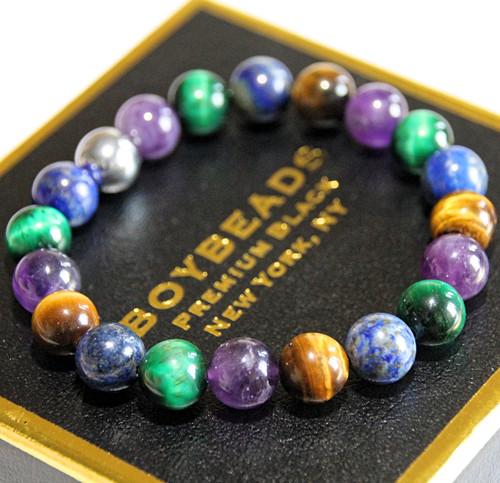 """Manasa"" BOYBEADS 10mm Lapis Lazuli, Amethyst Green/Brown Tiger Eye Handmade Beaded Bracelet for Him"
