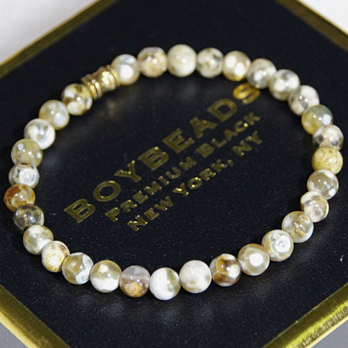 """""""Chad"""" 6mm Brown Beige Agate Small Beaded Bracelet by BOYBEADS"""