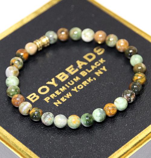 """""""Opie"""" 6mm Green/Brown Opal Small Beaded Bracelet by BOYBEADS"""
