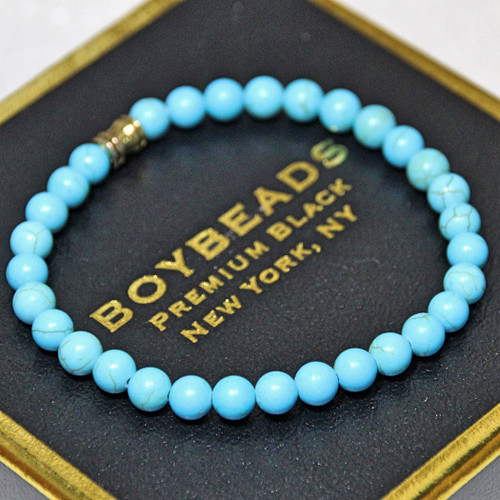 """""""Tommy"""" 6mm Blue Turquoise Howlite Small Beaded Bracelet by BOYBEADS"""