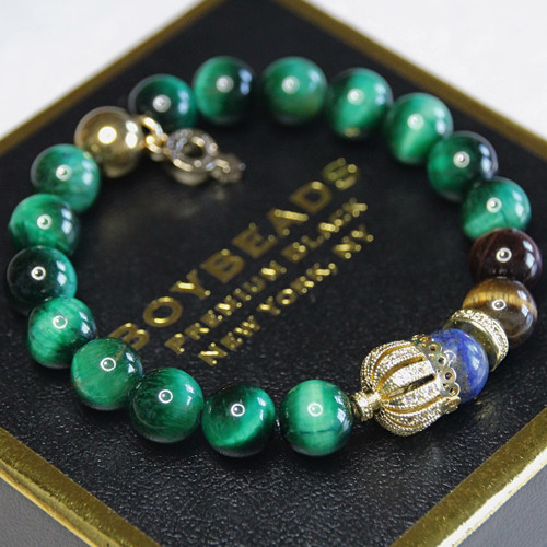 """Libra"" BOYBEADS green, red, brown tigers eye, lapis  brass crown mens natural stone bead bracelet"