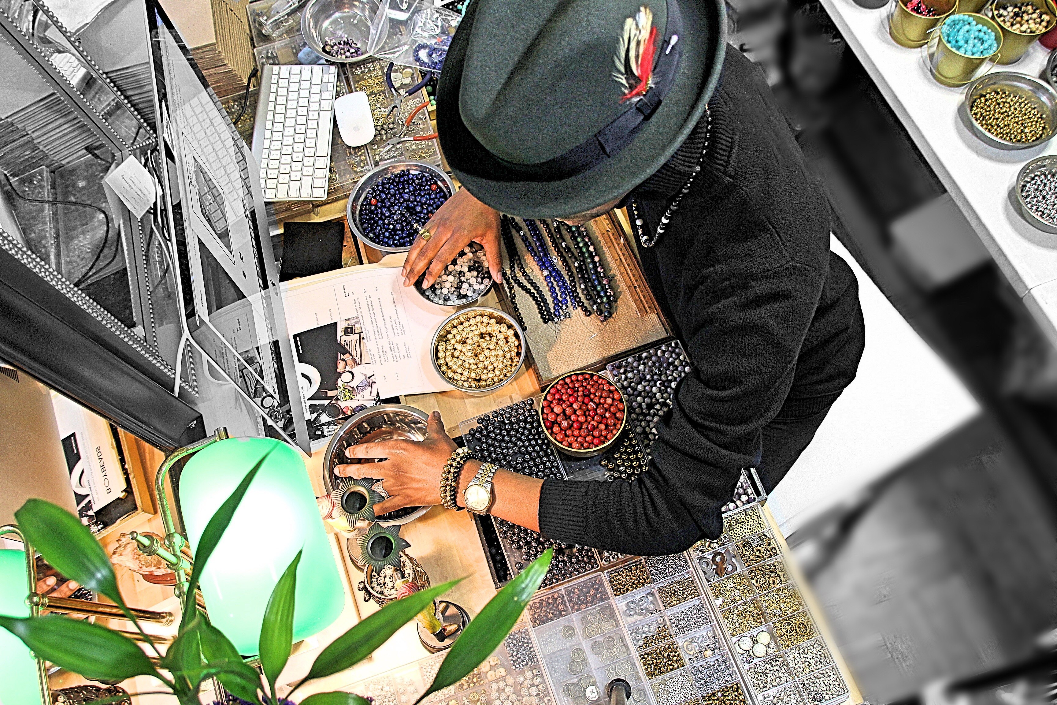 sebastian-mitchell-tarver-boybeads-new-york-small-business-studio-how-to-make-bead-bracelets-for-men-home-office-studio-workbench-fedora-hat-flamekeepers-hat-club-harlem-ny-2018.jpg