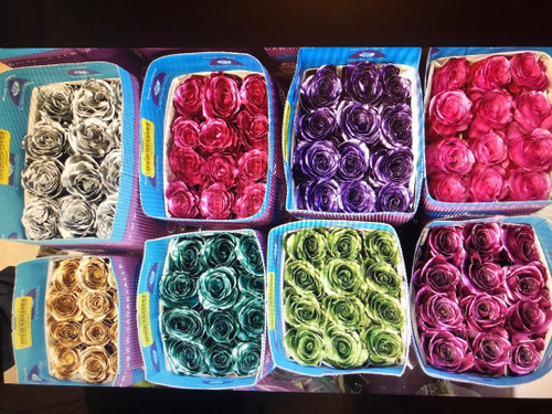 Metallic roses comes 100 to a box of assorted colors.