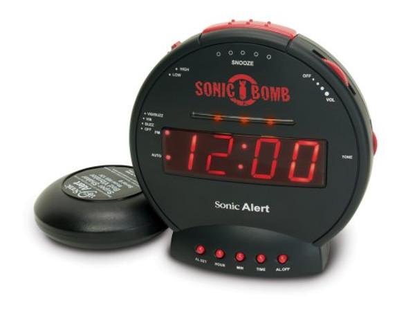 Sonic BOMB Alarm Clock in stealth grey with BED SHAKER for DEEPEST SLEEPERS