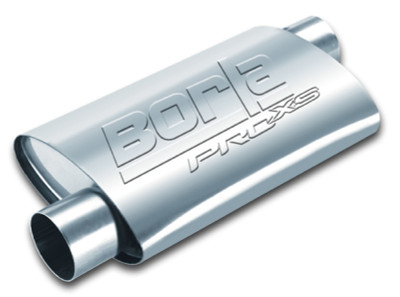 Borla 400495 Universal Pro XS Muffler Oval 2.5in Inlet//Outlet Notched Muffler