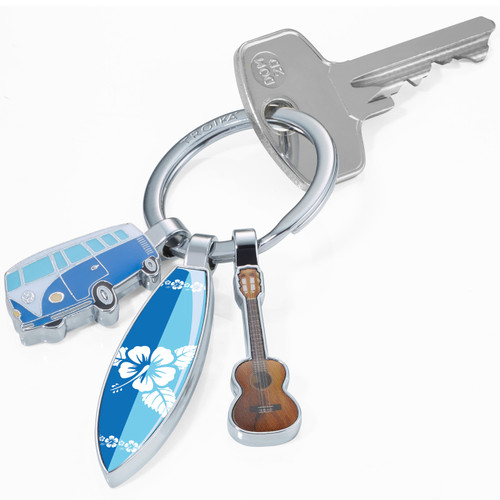Keyring 3 Charms: VW, Surfboard & Guitar