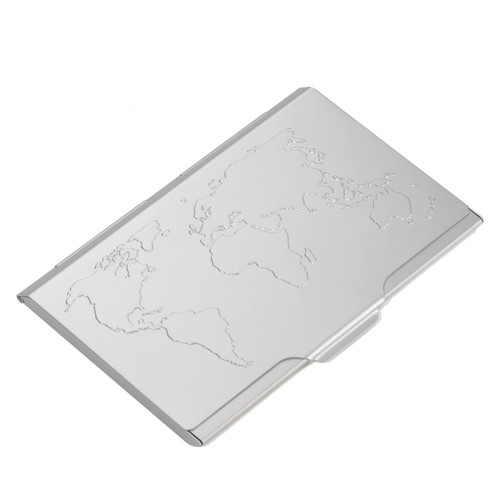 Business Card Case World Map 10 Card Silver