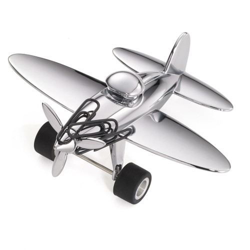 Paper Clip Holder & Paper Weight Plane (Silver)
