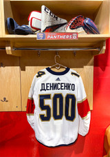 Florida Panthers #14 Grigori Denisenko Game-Used 2021 Bobrovsky's 500 Games Warmup Jersey (Autographed)
