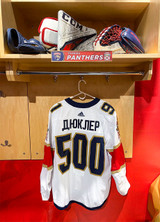 Florida Panthers #91 Anthony Duclair Game-Used 2021 Bobrovsky's 500 Games Warmup Jersey (Autographed)