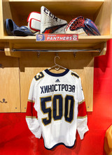 Florida Panthers #13 Vinnie Hinostroza Game-Used 2021 Bobrovsky's 500 Games Warmup Jersey (Autographed)