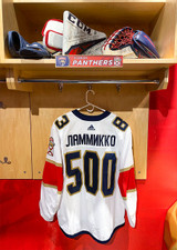 Florida Panthers #83 Juho Lammikko Game-Used 2021 Bobrovsky's 500 Games Warmup Jersey (Autographed)