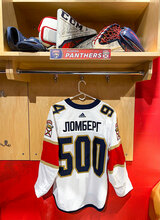 Florida Panthers #94 Ryan Lomberg Game-Used 2021 Bobrovsky's 500 Games Warmup Jersey (Autographed)