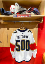 Florida Panthers #77 Frank Vatrano Game-Used 2021 Bobrovsky's 500 Games Warmup Jersey (Autographed)