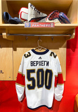 Florida Panthers #23 Carter Verhaeghe Game-Used 2021 Bobrovsky's 500 Games Warmup Jersey (Autographed)