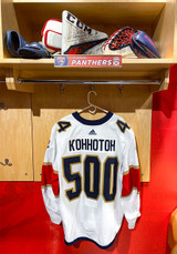 Florida Panthers #44 Kevin Connauton Game-Used 2021 Bobrovsky's 500 Games Warmup Jersey (Autographed)