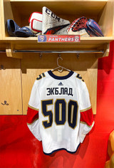 Florida Panthers #5 Aaron Ekblad Game-Issued 2021 Bobrovsky's 500 Games Warmup Jersey (Autographed)
